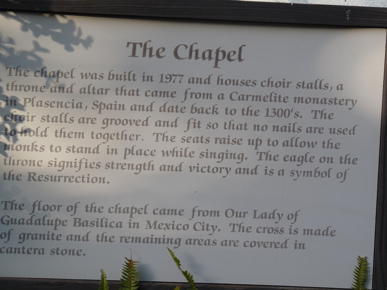info on the Chapel