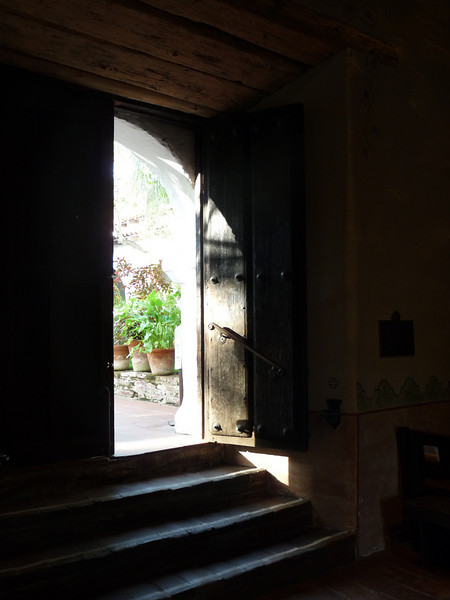 """my """"money shot"""" -- not as good as TLO's, but one of the best of my bunch, I think --<br /> <br /> the door leading into the gardens from inside the Church"""