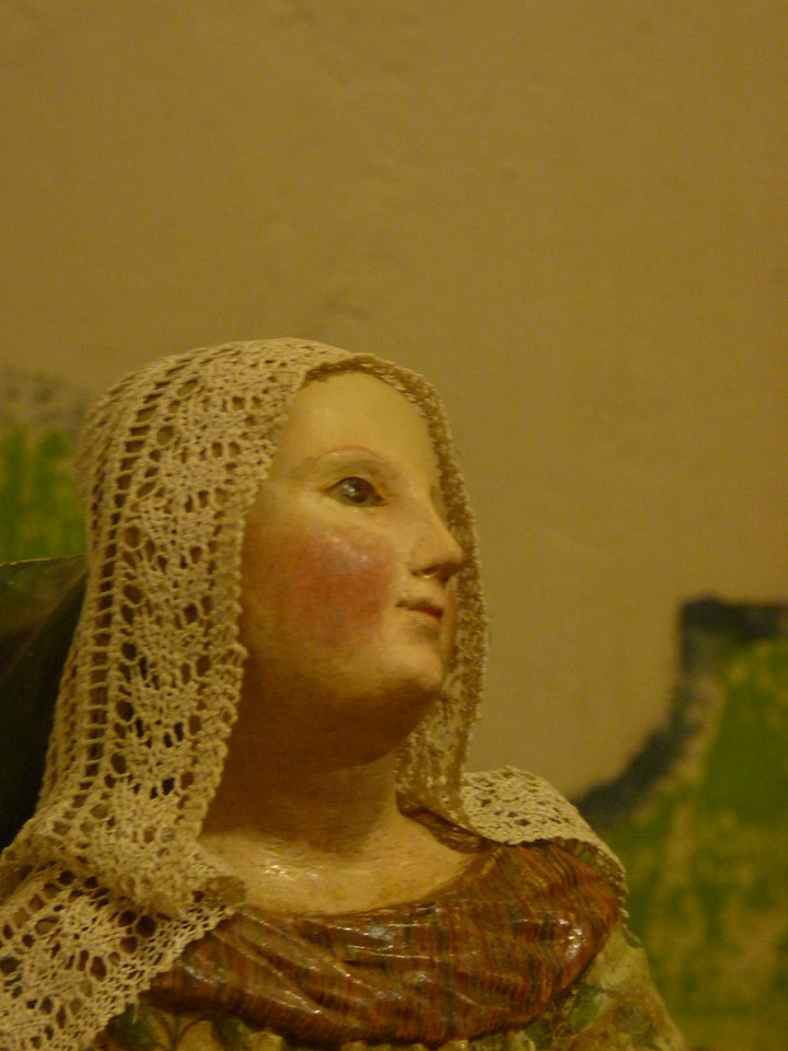 such a sweet face on this old wooden madonna  (unfortunately my full-body shot of her didn't come out)