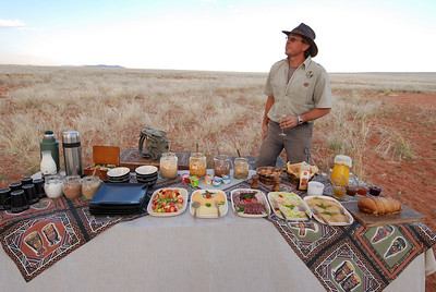 Champagne breakfast in the Namib with the balloon pilot, Eric. June 17, 2008