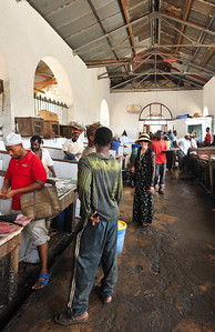 Susan at the meat market in The Market in Stone Town, Zanzibar