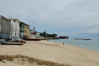 A view of the beach in Stone Town, Zanzibar from Mercury's deck