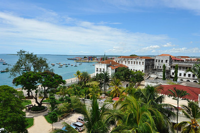 Stone Town, Zanzibar A view of the harbour from the House of Wonders