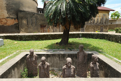 A depiction of the slave trade on this site as recently as 1873 although it did continue in secret elsewhere on the island to 1911 before eradication. Stone Town, Zanzibar