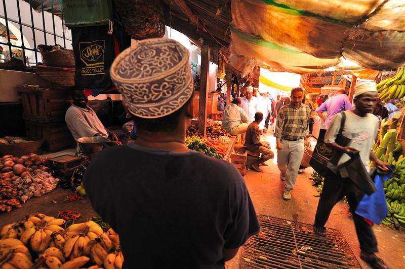 Outdoor fruit and vegetable market in The Market in Stone Town, Zanzibar