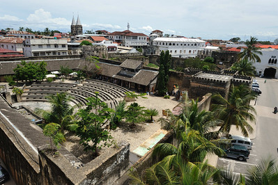 Stone Town, Zanzibar A view of the amphitheatre from the House of Wonders with the Olde Fort immediately behind.