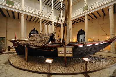 A Dhow in the House of Wonders, Stone Town, Zanzibar The Dhow has been used for millenia in the middle east. It features mahogany construction for longevity and rope fastenings in the absence of metal forming technologies. This example was made locally and donated to the museum.
