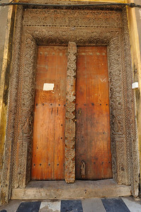 Typical Indian Door architecture in Stone Town, Zanzibar