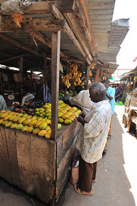 Outdoor fruit and vegetable market in The Market in Stone Town, Zanzibar
