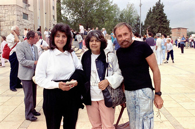 Outside St. James Church in Medjugorje.