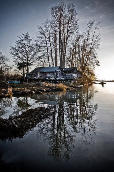 Finn Slough Reflection – This shot embodies the traditional elements of reflections; water as the reflective source with the sun properly positioned to create the mirror effect. Taken late on a November afternoon, the low angle of the sun provides the warm coloured, soft light.