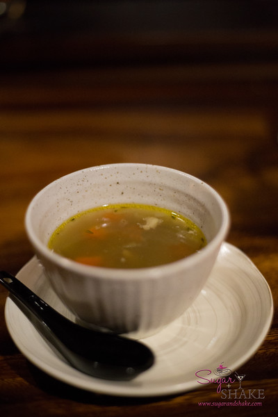 The BLA Soup (a black peppered chicken soup, very savory, very warming; $5.00) is a standard offering. © 2016 Sugar + Shake
