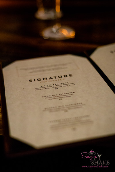 Bar Leather Apron's Signature Cocktails menu is available exclusively at the bar seating. © 2016 Sugar + Shake