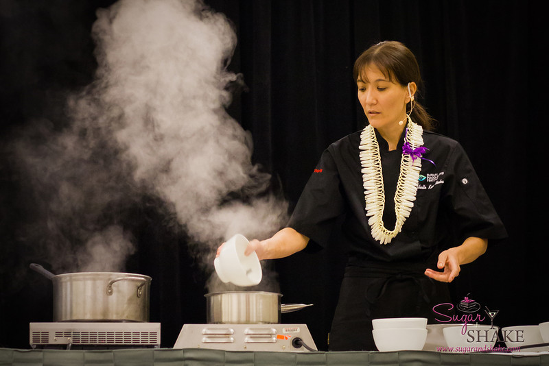 Hawai'i Food & Wine Festival 2013; Sweet Endings, Sweet Wines seminar: Chef Michelle Karr-Ueoka demonstrates the process to make the fudgy base for her chocolate dessert trio. © 2013 Sugar + Shake