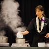 Hawai'i Food & Wine Festival 2013; Sweet Endings, Sweet Wines seminar: Chef Michelle Karr-Ueoka demonstrates the process to make the fudgy base for her chocolate dessert trio. © 2013 Sugar + Shake