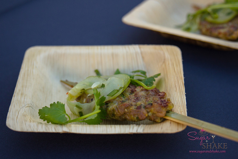 Hawai'i Food & Wine Festival 2013; Taste our Love for the Land event: Chef Russell Moore (Camino) — Grilled Goat, King Trumpet Mushroom Kofte Kebab, Cucumbers, Herbs, Chiles. Local producers: Hāmākua Mushrooms, Hawai'i Island ranchers, Naked Cow Dairy, 'Nalo Farms. © 2013 Sugar + Shake