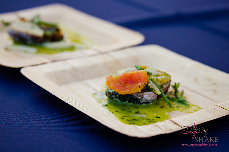 Hawai'i Food & Wine Festival 2013; Taste our Love for the Land event: Chef Hiro Sone (Terra) — Sautéed Big Island Abalone, Garlic Lemon Butter, Ali'i Mushrooms, Sea Asparagus. Local producers: Big Island Abalone, Hāmākua Mushrooms, Ho Farms, Marine Agrifuture, Naked Cow Dairy, 'Nalo Farms. © 2013 Sugar + Shake