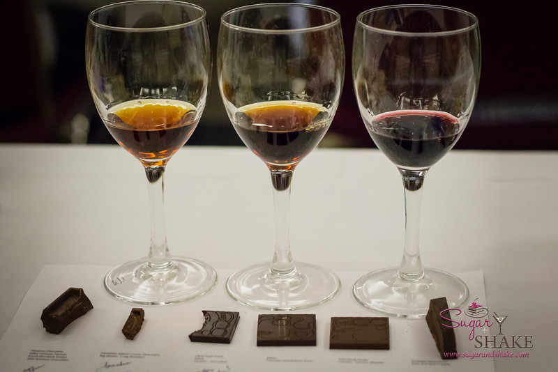 Hawai'i Food & Wine Festival 2013; Sweet Endings, Sweet Wines seminar: Pairings for the chocolate (L-R) — Cocchi Vermouth di Torino; New York Malmsey Madeira; Dow's Port. © 2013 Sugar + Shake