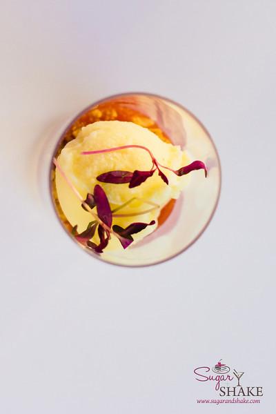 Hawai'i Food & Wine Festival 2013; Under the Modern Moon event: Macadamia Nut Honey Mousse with Pineapple Sherbert & Macadamia Crunch by Chef Stephen Durfee (Culinary Institute of America). Highlighted producers: Hawaiian Vanilla Co., Huahua Farm, Ka Lei Eggs, 'Nalo Farms. © 2013 Sugar + Shake