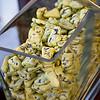 Hawai'i Food & Wine Festival 2013; Taste our Love for the Land event: Chocolate-enrobed pineapple chunks at Chef Mark Freischmidt (Halekulani)'s station. © 2013 Sugar + Shake
