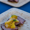 Hawai'i Food & Wine Festival 2013; Taste our Love for the Land event:  Chef Jonathan Waxman (Barbuto) — New York Strip Steak, Grilled Pineapple. Local producers: Hāli'imaile Pineapple Company, Hawai'i Island Ranchers. © 2013 Sugar + Shake
