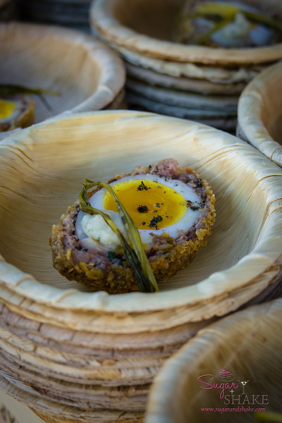 Hawai'i Food & Wine Festival 2013; Taste our Love for the Land event: Chef Grant MacPherson (Scotch Myst) — Hawaiian Wild Boar Scotch Egg, Cumin Fennel Jam, Meyer Lemon Emulsion. Local producers: Hawai'i Island Ranchers, Ka Lei Eggs, 'Nalo Farms. © 2013 Sugar + Shake