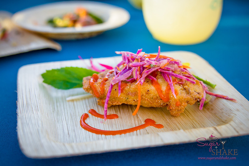 Hawai'i Food & Wine Festival 2013; Taste our Love for the Land event: Southern Fried Hawaiian Fresh Catch, Sweet Potato Slaw, Yuzu Vinaigrette, Mango Hot Sauce. Local producers: Adaptations, Brian Otani, local fishermen, Naked Cow Dairy, 'Nalo Farms. © 2013 Sugar + Shake