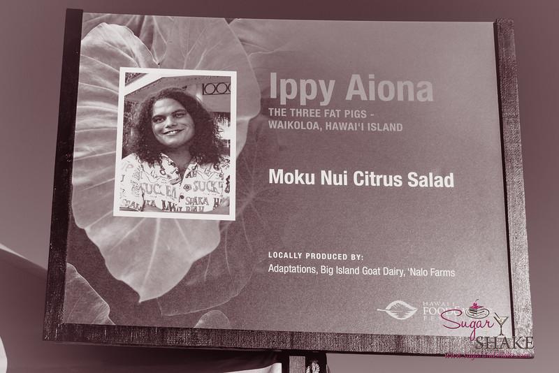 Hawai'i Food & Wine Festival 2013; Taste our Love for the Land event: Chef Ippy Aiona (The Three Fat Pigs) — Moku Nui Citrus Salad. Local Producers: Adaptations, Big Island Goat Dairy,  'Nalo Farms. © 2013 Sugar + Shake