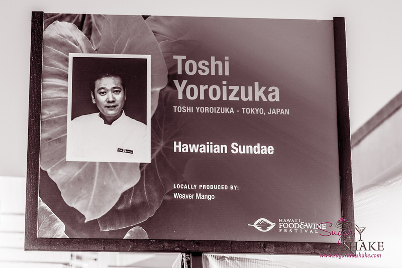 Hawai'i Food & Wine Festival 2013; Taste our Love for the Land event: Chef Toshi Yoroizuka (Toshi Yoroizuka) — Hawaiian Sundae. Local producer: Weaver Mango. © 2013 Sugar + Shake