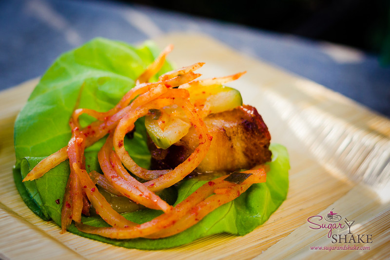 Hawai'i Food & Wine Festival 2013; Under the Modern Moon event: Pork Belly Lettuce Wraps, Cucumber Pineapple Kim Chee by Chef Masaharu Morimoto (Morimoto Waikiki). Highlighted farm: Shinsato Farms. © 2013 Sugar + Shake