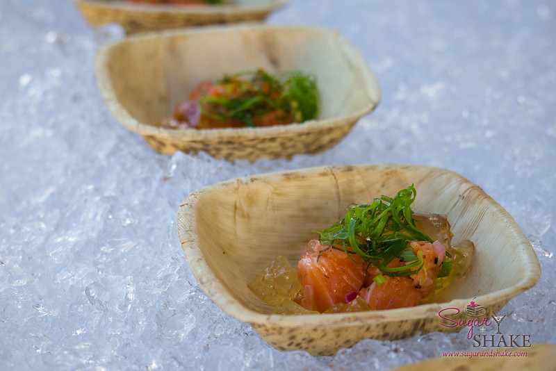 Hawai'i Food & Wine Festival 2013; Taste our Love for the Land event: Chef Sang Yoon (Lukshon) — Modern Lomi Lomi Salmon, Tomato Water Gelée, Pickled Maui Onion. Local producers: Maui Farmers, Won Hon Hin. © 2013 Sugar + Shake