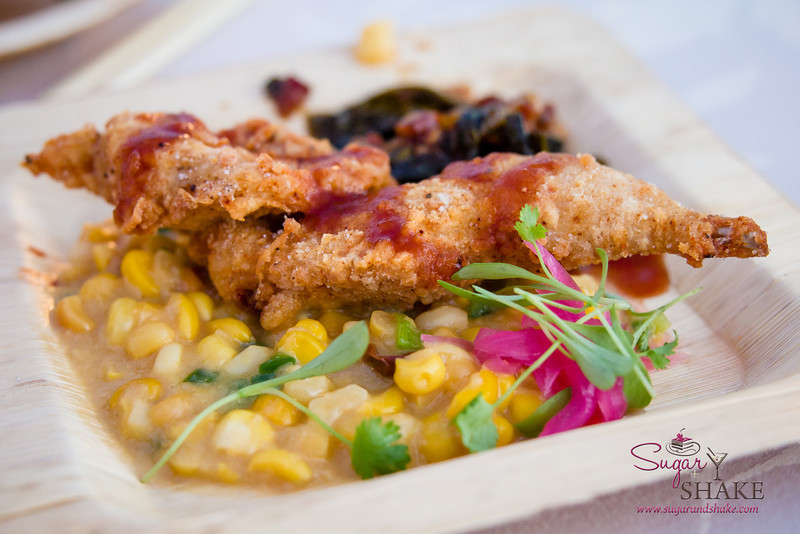 Hawai'i Food & Wine Festival 2013; Savory Ever After event: Chef Dean Fearing (Fearing's) — Fried Quail over Gun Barrel City Greens & Jalapeño Creamed Corn. Local producers: Naked Cow Dairy, 'Nalo Farms. © 2013 Sugar + Shake