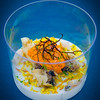 Hawai'i Food & Wine Festival 2013; Taste our Love for the Land event: Chef Mourad Lahlou (Aziza) — Coconut Panna Cotta, Vadouvan, Crab, Uni. Local fishermen. © 2013 Sugar + Shake