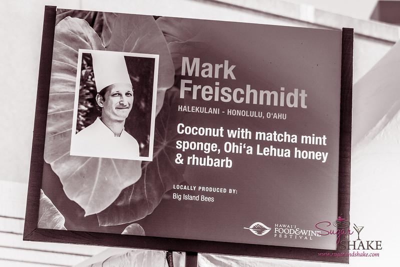 Hawai'i Food & Wine Festival 2013; Taste our Love for the Land event: Chef Mark Freischmidt (Halekulani) — Coconut with Matcha Mint Sponge, Ohi'a Lehua Honey, Rhubarb. Local producer: Big Island Bees. © 2013 Sugar + Shake