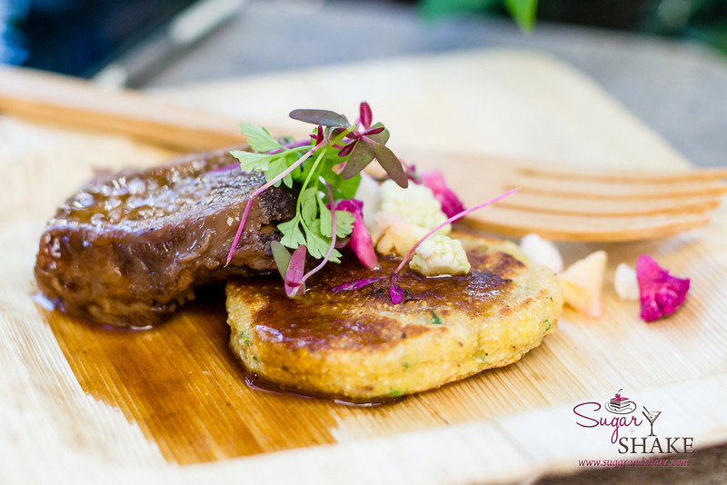 Hawai'i Food & Wine Festival 2013; Under the Modern Moon event: Braise Beef Short Rib with Chive Corn Griddle Cake by Chef Scott Toner (The Modern Honolulu). Highlighted farm: 'Nalo Farms. © 2013 Sugar + Shake