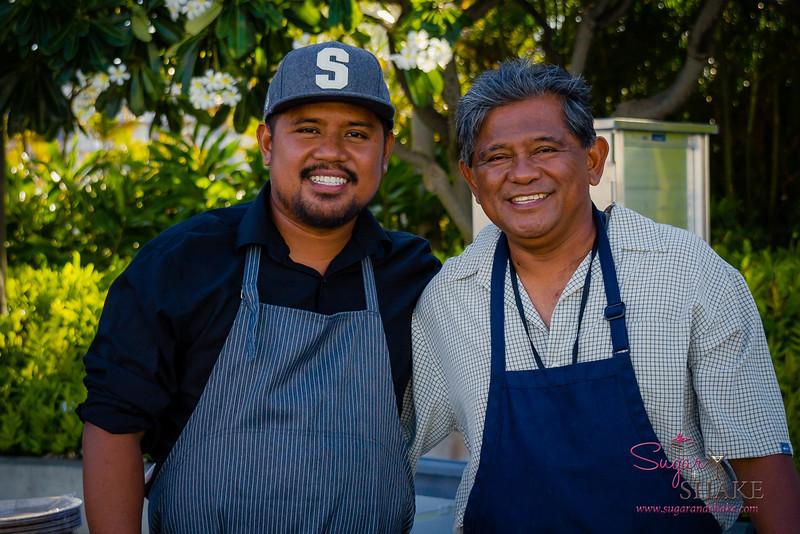 Hawai'i Food & Wine Festival 2013; Taste our Love for the Land event: Chef Sheldon Simeon with his dad, Reinior Simeon. © 2013 Sugar + Shake