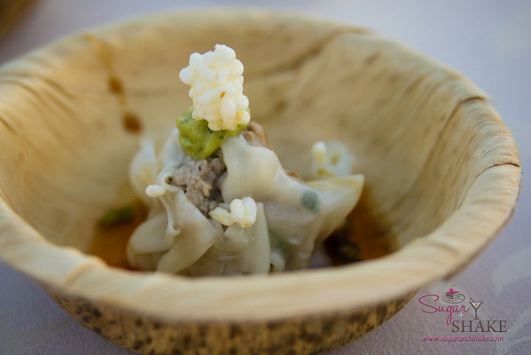 Hawai'i Food & Wine Festival 2013; Savory Ever After event: Chef Ming Tsai (Blue Ginger) — Pork and Garlic Chive Wontons with Ginger Scallion Ma La Oil & Crispy Rice. Local producer: Shinsato Farms. © 2013 Sugar + Shake