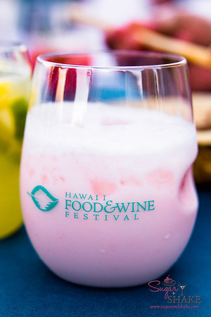 Hawai'i Food & Wine Festival 2013; Taste our Love for the Land event: Mixologist Francesco Lafranconi (Southern Wine & Spirits) — Coconut Strawberry Collins Fizz, gin, Fragoli liqueur, cream, sweet & sour, egg white, orange flower water, coconut cream soda. © 2013 Sugar + Shake