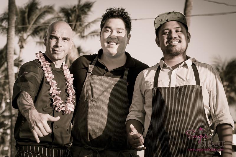 "Hawai'i Food & Wine Festival 2014: ""Under a Maui Moon."" Right to left: Chefs Mourad Lahlou (Aziza, San Francisco), Chris Kajioka (Honolulu) and Sheldon Simeon (Migrant, Maui). © 2014 Sugar + Shake"