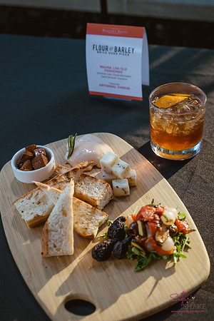 From Flour & Barley: Mauna Loa Old Fashioned (Gentleman Jack whiskey, orange marmalade, sweet vermouth, Angostura bitters) paired with Formaggio Board. © 2018 Sugar + Shake