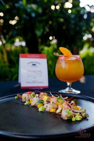 "From Eating House 1849: Drop Baby Drop (Ocean organic vodka, lime, liliko'i, Paradise Ciders ""Mango Daze"", housemade pickled li hing mui mango) paired with Eating House Shrimp & Pickled Mango. © 2018 Sugar + Shake"