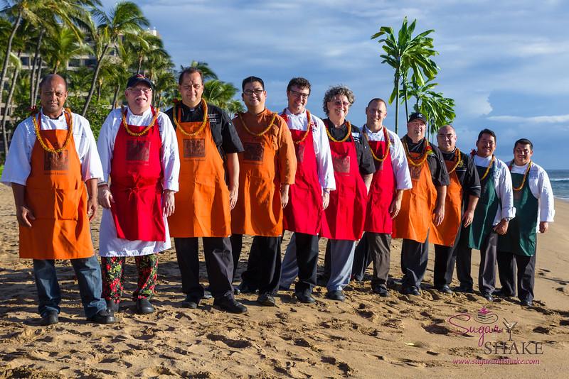 Kā'anapali Fresh 2014. 'Aha'āina O Kā'anapali participating chefs. Left to right: Joey Macadangdang (Roy's), Bobby Masters (Hula Grill), Francois Milliet (Westin Kā'anapali Ocean Resort Villas), Raymond Nicasio (Sheraton Maui), Ryan Luckey ( Leilani's on the Beach), Alex Stanislaw (Maui Fish & Pasta), Scott McGill (TS Restaurants), Greg Grohowski (Hyatt Regency Maui), Bernardo Salazar (Royal Lahaina Resort), Tom Muromoto (Kā'anapali Beach Hotel), Ikaika Manaku (Westin Maui). © 2014 Sugar + Shake