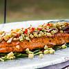 Kā'anapali Fresh 2014. Fresh Mixology 101: Kā'anapali  Craft. Salmon with fresh corn salsa. © 2014 Sugar + Shake