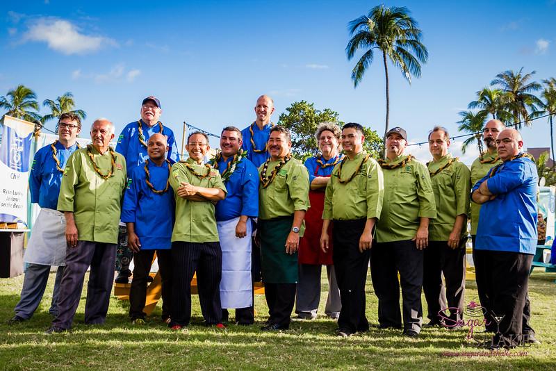 Kā'anapali Fresh 2014. Kā'anapali from Range to Sea Signature Event. Participating chefs, left to right: Ryan Luckey (Leilani's on the Beach), Paris Nabavi (Sangrita Grill & Cantina), Joey Macadangdang (Roy's), Eduardo Pineda (Sangrita Grill & Cantina), Ikaika Manaku (Westin Maui), Tom Muromoto (Kā'anapali Beach Hotel), Alex Stanislaw (Maui Fish & Pasta), Raymond Nicasio (Sheraton Maui), Greg Grohowski (Hyatt Regency), Francois Milliet (Westin Kā'anapali Ocean Resort Villas), Wes Holder (Westin Kā'anapali Ocean Resort Villas), Bernardo Salazar (Royal Lahaina Resort). Back row: Bobby Masters (Hula Grill), Scott McGill (TS Restaurants). © 2014 Sugar + Shake