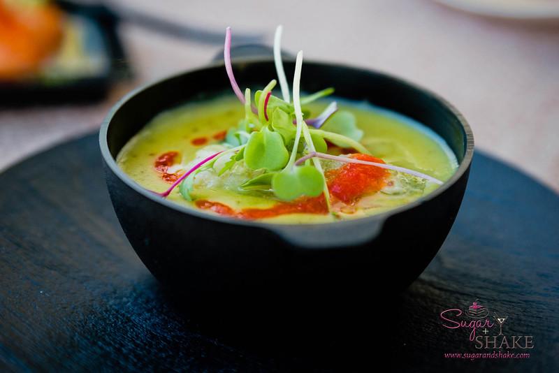 Kā'anapali Fresh 2014. Shishido Farm Won Bok Cabbage Bisque with Fried Okra and White Truffle Oil. Chef Tom Muromoto, Kā'anapali Beach Hotel. © 2014 Sugar + Shake