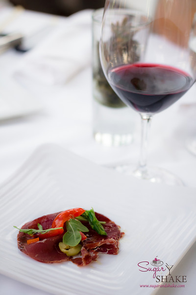"Bresaola Carpaccio paired with the 2011 Mollydooker Shiraz ""The Boxer."" © 2013 Sugar + Shake"