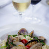 """Second Course: Steamed Manila Clams — Housemade tagliatelle, Ho Farms grape tomatoes, house-smoked chorizo, braised hearty greens, arugula pesto. Paired with Mollydooker 2011 Verdelho """"The Violinist."""" © 2013 Sugar + Shake"""