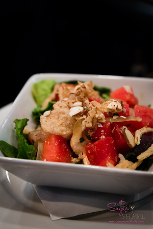New Summer 2016 Menu Tasting at Pint + Jigger. House Market Salad, with watermelon, spring greens, house-made mozzarella, almonds and fried onions. So refreshing and full of flavor! © 2016 Sugar + Shake
