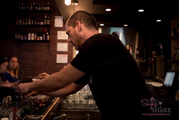 New Summer 2016 Menu Tasting at Pint + Jigger. The man (Dave Newman) at work. © 2016 Sugar + Shake