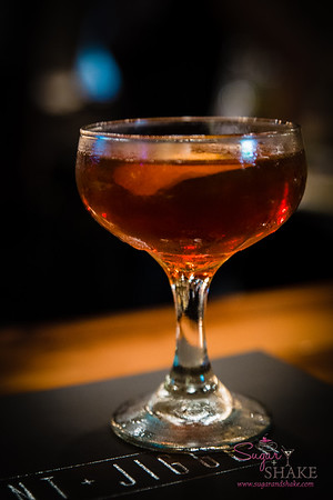 New Summer 2016 Menu Tasting at Pint + Jigger. The Shambles. All sorts of things to delight Sugar's palate: bourbon, Pimm's, Punt e Mes, St. Germain and orange bitters. © 2016 Sugar + Shake